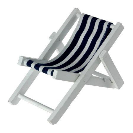 Διακοσμητική mini καρέκλα παραλίας Μπλε - Λευκή 16x18x12cm