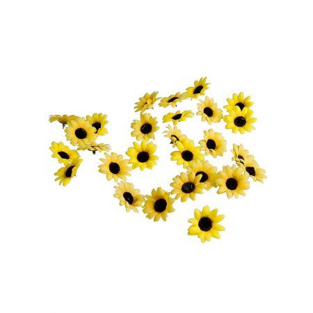 Σετ 24τχ διακοσμητικά άνθη ηλίανθου Κίτρινο 7cm