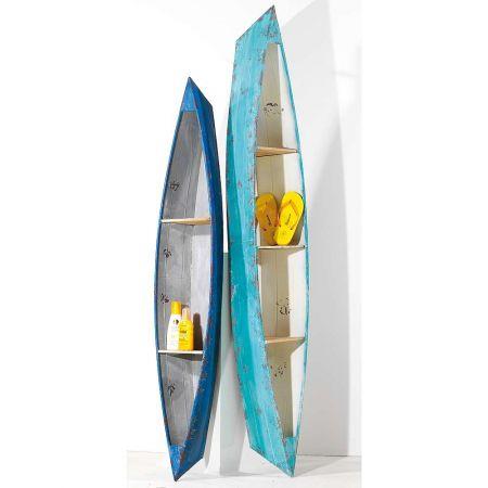 Σετ 2τχ Διακοσμητικές βάρκες - ραφιέρες Μπλε - Γαλάζιο 160x30cm 190x38cm