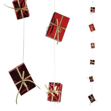 Διακοσμητική γιρλάντα με δώρα κόκκινη,  9-15cm