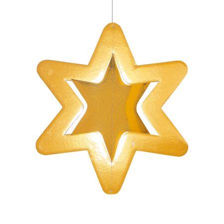 Διακοσμητικό χάρτινο χρυσό αστέρι, κρεμαστό 32cm
