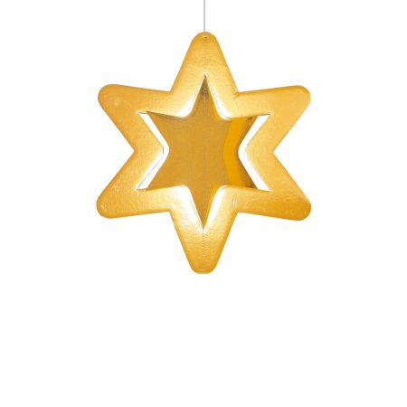 Διακοσμητικό χάρτινο χρυσό αστέρι, κρεμαστό 45cm