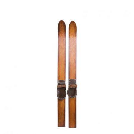 Ζευγάρι ξύλινα πέδιλα του σκι Vintage 60x4,5cm
