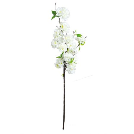 Διακοσμητικό κλαδί με άνθη κερασιάς Λευκά 100cm