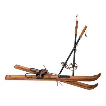 Ζευγάρι ξύλινα πέδιλα του σκι και μπατον Vintage 90cm