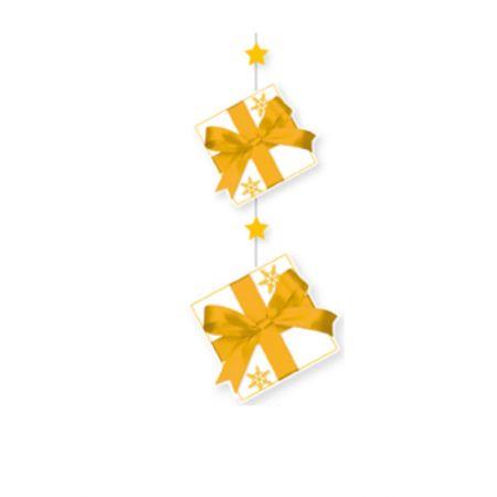 Χριστουγεννιάτικη χάρτινη γιρλάντα με αστέρια και δώρα 80x28cm