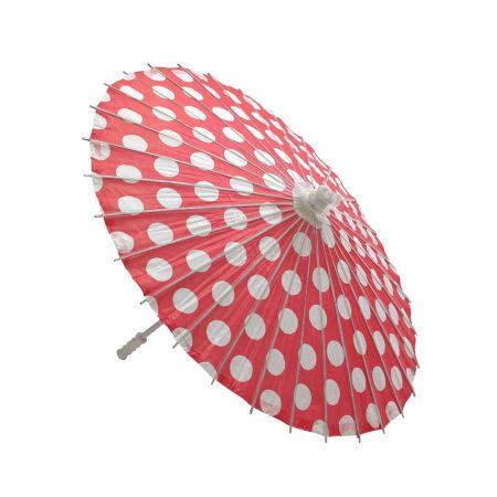 Διακοσμητική Χάρτινη ομπρέλα πουά, Κόκκινη 86cm
