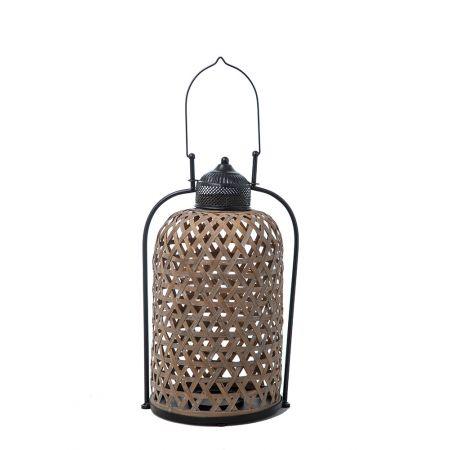 Διακοσμητικό Φανάρι από Μέταλλο και Ξύλο , 33x27x53cm