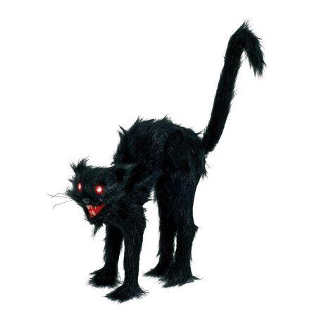 Διακοσμητική γάτα που επιτίθεται Μαύρη με φως και ήχο 30x10cm