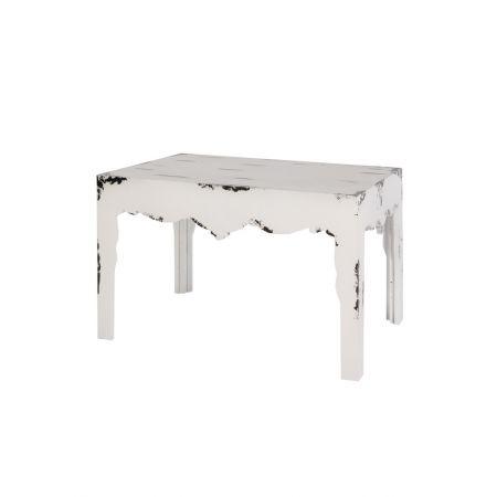 Σετ 2τχ διακοσμητικά τραπεζάκια μπαρόκ ξύλινα, λευκό παλαιωμένο 80x60x60cm, 60x40x40cm