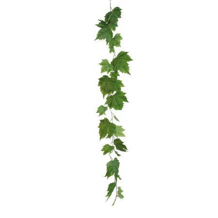 Διακοσμητική γιρλάντα με φύλλα Σφενδάμου Πράσινη 180cm