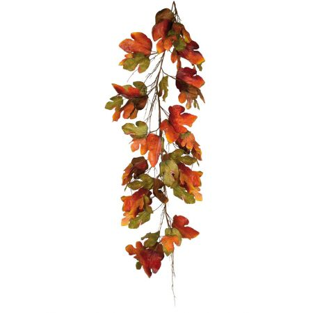 Διακοσμητική γιρλάντα με φύλλα Καστανιάς Πράσινη - Πορτοκαλί 180cm