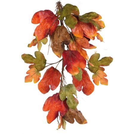 Διακοσμητικό Φθινοπωρινό κλαδί Καστανιάς Κόκκινο - Πράσινο - Πορτοκαλί 100cm