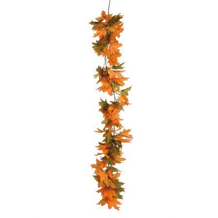 Διακοσμητική γιρλάντα με φύλλα Σφενδάμου Πράσινη - Πορτοκαλί 150cm