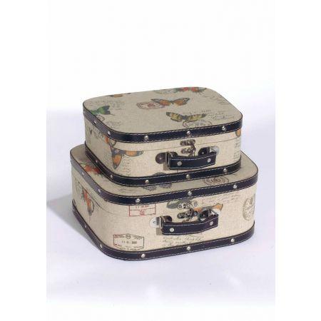Σετ 2τμχ. Διακοσμητικές Βαλίτσες με Πεταλούδες 34x29x13cm - 28x25x10cm