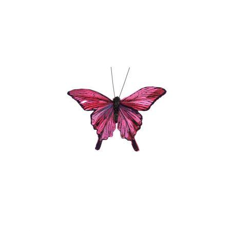 Διακοσμητική πεταλούδα deluxe με κλιπ Μπορντό 12cm