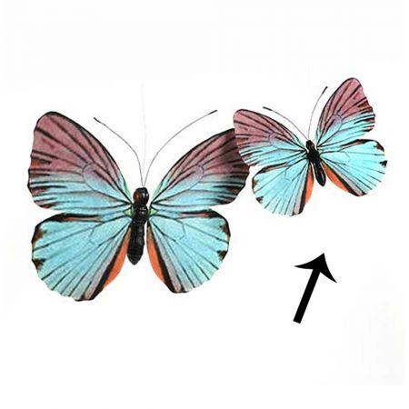 Διακοσμητική πεταλούδα Μπλε - Ροζ 30cm