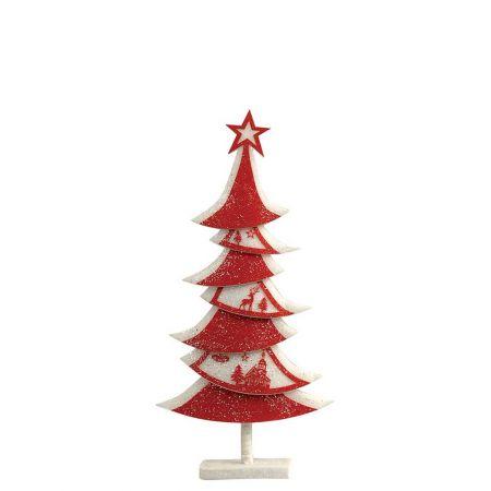 Διακοσμητικό Χριστουγεννιάτικο δέντρο με glitter Κόκκινο - Λευκό 35x9x70cm