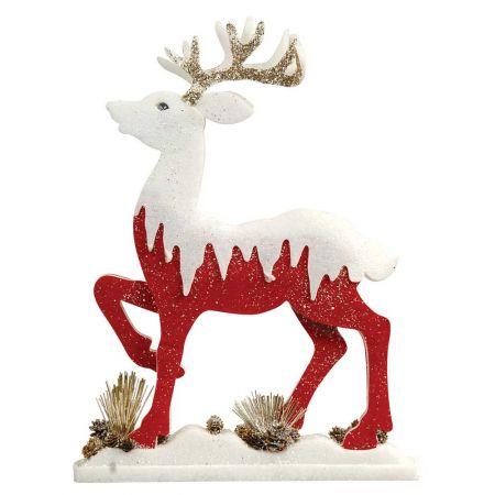 Διακοσμητικός τάρανδος με glitter Κόκκινος - Λευκός 54x8x70cm