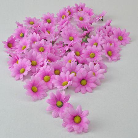Σετ 60τχ mini διακοσμητικά άνθη Ροζ 4cm