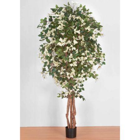 Τεχνητό φυτό Βουκαμβίλια με Λευκά άνθη σε γλάστρα 180cm
