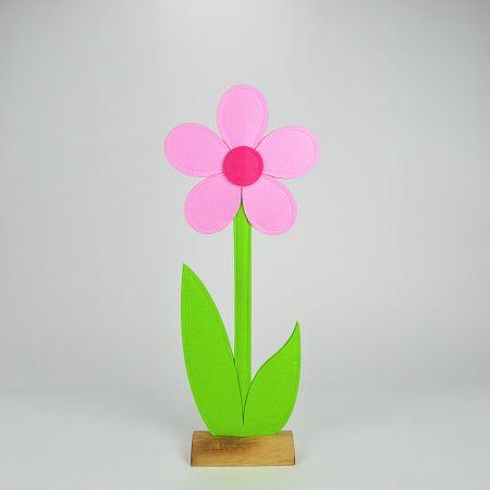 Μαργαρίτα από τσόχα σε ξύλινη βάση Ροζ - Πράσινη 25x8x64cm