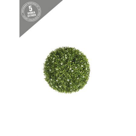 Διακοσμητική τεχνητή μπάλα - Λευκά ανθάκια 18cm