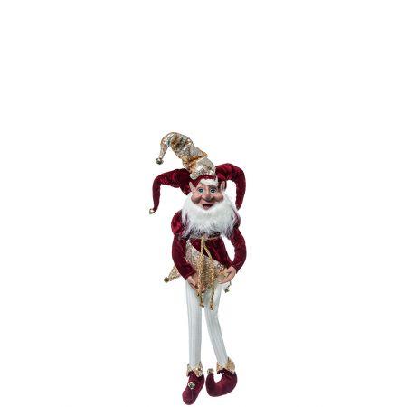 Χριστουγεννιάτικο ξωτικό - αρλεκίνος Μπορντό 66cm