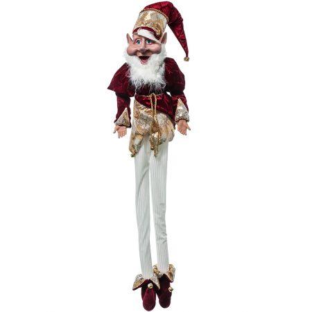 Χριστουγεννιάτικο ξωτικό - αρλεκίνος Μπορντό 120cm
