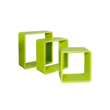 Σετ 3τμχ. Διακοσμητικοί Κύβοι Ξύλινοι Πράσινο 35/42/50cm