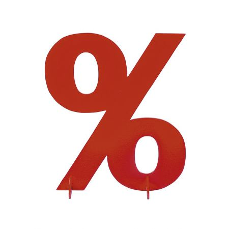 XXL σύμβολο επί τοις εκατό σε κόκκινο, 50x40cm