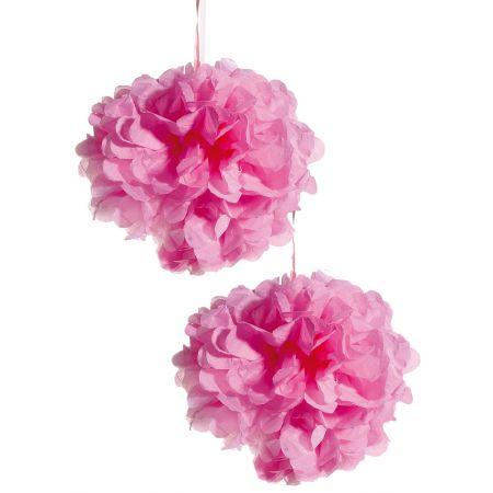 Σετ 2τχ διακοσμητική κρεμαστή μπάλα - λουλούδι, Ροζ 30cm