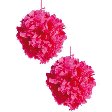 Σετ 2τχ διακοσμητική κρεμαστή μπάλα - λουλούδι, Φούξια 30cm