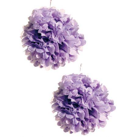 Σετ 2τχ διακοσμητική κρεμαστή μπάλα - λουλούδι, Λιλά 30cm