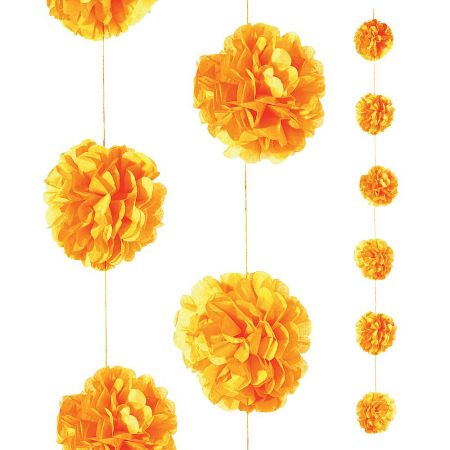 Διακοσμητική γιρλάντα με λουλούδι τούφα Πορτοκαλί 240cm