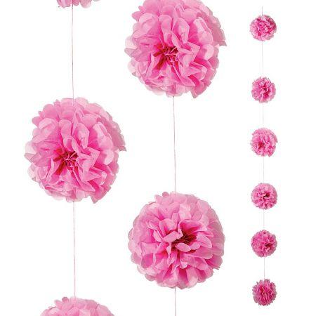 Διακοσμητική γιρλάντα με λουλούδι τούφα Ροζ 240cm