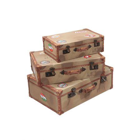 Σετ 3τμχ. Διακοσμητικές Βαλίτσες 63x43x21cm - 56x36x17cm - 43x28x13cm