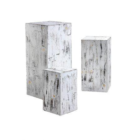 Σετ 3τχ Διακοσμητικοί Κύβοι-Σταντ Παρουσίασης Λευκό 35x35x80cm