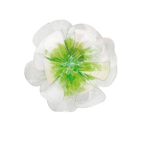 Άνθος λουλουδιού-Χάρτινο με σύρμα 40cm, πράσινο/λευκό