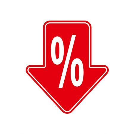 Κρεμαστό εκπτωτικό βέλος με ποσοστό %, 60 x 54 cm