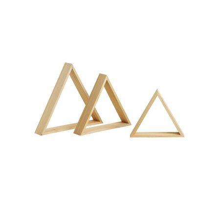 Σετ 3τμχ. Διακοσμητικά Σταντ-Ράφια Βιτρίνας Τρίγωνο 45x45cm