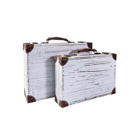 Σετ 2τμχ. Διακοσμητικές Βαλίτσες Ξύλινες 36x24x10cm - 40x30x12cm