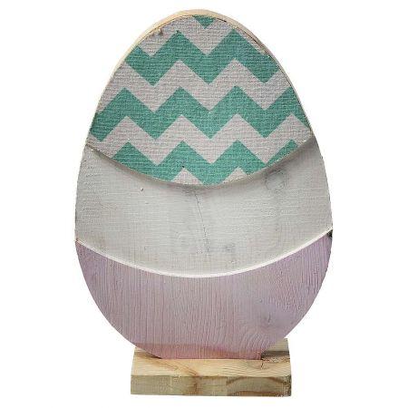 Διακοσμητικό αυγό μονής όψης κατασκευασμένο από ξύλο με βάση.