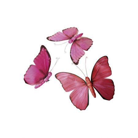 Σετ 3τχ διακοσμητικές πεταλούδες με σώμα από σκληρό αφρώδες υλικό και χάρτινα φτερά.