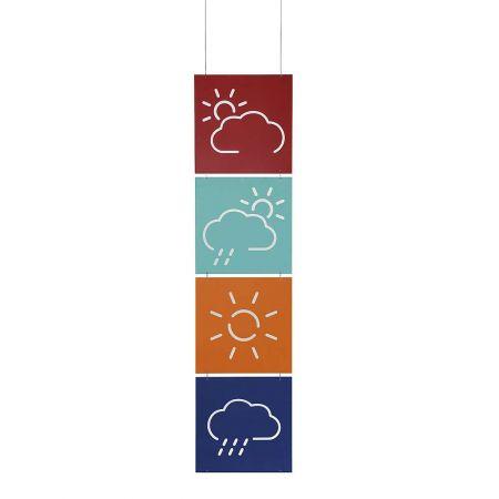 Σετ 4τχ Διακοσμητικές μεταλλικές πινακίδες με σύμβολα καιρού 40x40cm