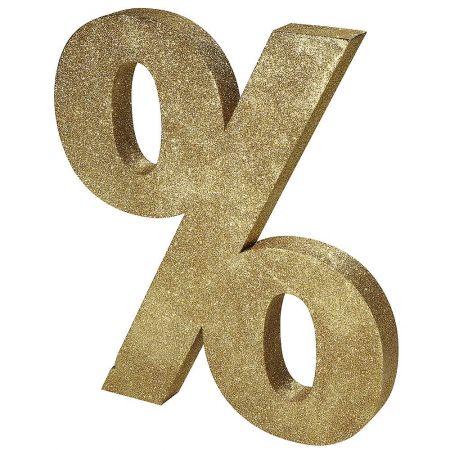 XL Διακοσμητικό σύμβολο % Χρυσό με glitter 90x80cm