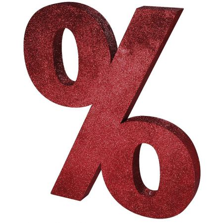 XL Διακοσμητικό σύμβολο % Κόκκινο με glitter 90x80cm