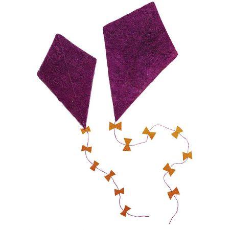 Σετ 2τχ Διακοσμητικός χαρταετός σιζάλ Φούξια 50x30cm, 70x43cm